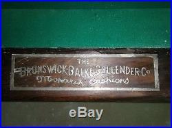 Antique 1909 Brunswick-Balke Collender Monarch Co. Pool Table Regina Model