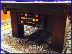 Antique 1917 BBC Madison Billiards Pool Table Dark Mahogany Veneer Oak Rails