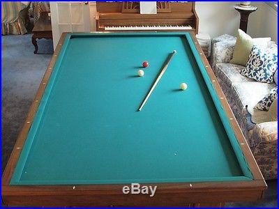 Antique 1926 Brunswick 3-Cushion Billiard Table, Ivory Inlays
