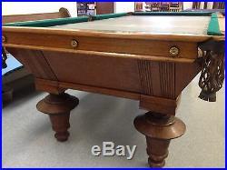 Antique 8' Oliver Briggs Pool Table