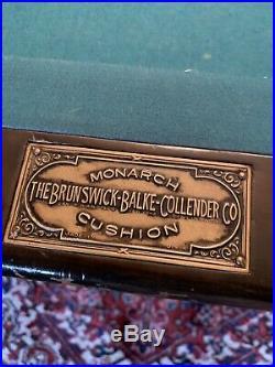 Antique 9 Brunswick Blake Collander MONARCH POOL TABLE