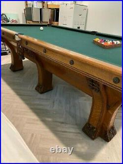 Antique 9' Brunswick Pfister pool table