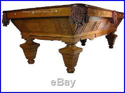 Antique Billiard/Pool/Brunswick Balke Collender Manhattan 8' Carved Pool Table