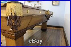 Antique Brunswick 8' pool table restored circa 1900