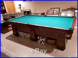 Antique Brunswick Balke Collender Co. Medalist Pool Table 9 Foot Table