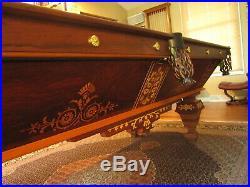 Antique Brunswick Balke Collender Popular 8' Pool Table Rosewood Maple Restored