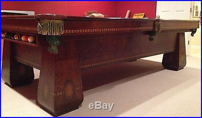 Antique Brunswick Pool Table in Perfect Condition with Accessories
