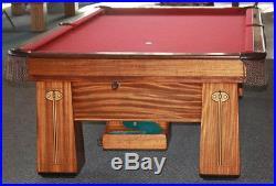 Antique Brunswick Regina Pool Billiards Table 9' Amazing Coni