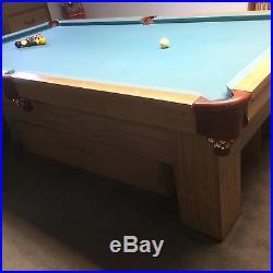 Antique Brunswick slate top Pool Table, tounament size 5x9 ft. Re-modeled