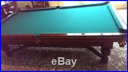 Antique Elizabethan Brunswick 1927 Billiard Table, 5.5 x 9, Walnut finish