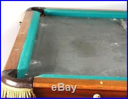 Antique F. Schwikert 9 Ft. Inlaid Pool Table