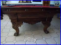 Antique Pool table 4.6ft x 9ft 1880's
