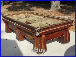 Antique c 1920's Brunswick Pool Billiard Snooker Table 6 Leg Arcadian Model