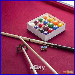 Augusta Traditional 8-ft Pool Table With Brown Maple Finish & Red Felt