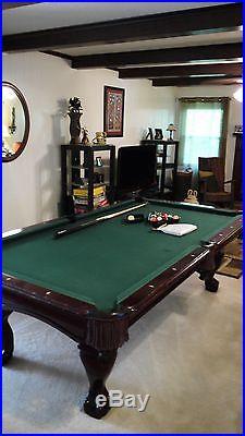 BERINGER 8 ft Solid Wood Mahogany Pool Billiard Table Leather Pockets