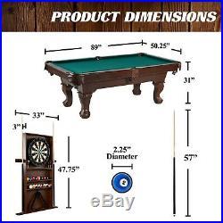 Barrington 90 Billiard Table with Dartboard Indoor Game Set Pool Cue Rack Storage