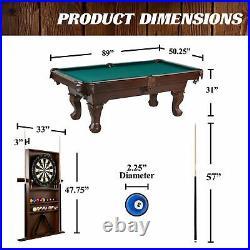 Barrington 90 Claw Leg Billiard Pool Table with Ball Cue Rack and Dartboard Set