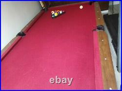 Barrington 90 Inches Ball & Claw Leg Pool Table Cue Rack Dartboard Burgundy