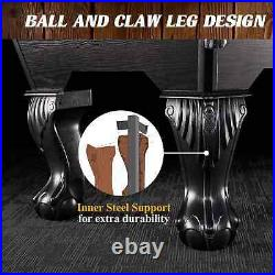 Barrington Billiards Ball and Claw Leg 90 Pool Table, Cue Rack, Dartboard, Burg