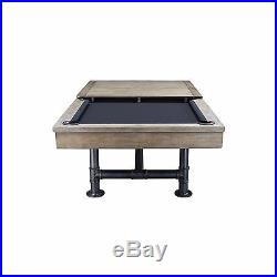 Bedford Pool Table 8' Weathered Oak with Dining Top and Iron Legs FREE SHIPPING