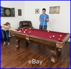 Billiard Pool Table, 7.25', Regulation Pool Table, Burgundy Cloth