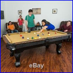 Billiard Pool Table 87 Tan Wooden Stick Ball Chalk Cube Triangle Rack Set