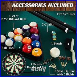 Billiard Pool Table Cue Rack Sticks Balls Triangle Dartboard Combo Game. Play Set