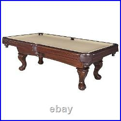 Billiard Pool Table Walnut Finish 8-ft Walnut/Camel Finish Cue Sticks Included