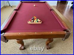 Brunswick 8' Allenton Chestnet Pool Table, Ping Pong Top and Cue Stand