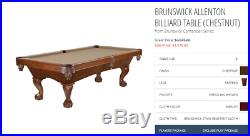 Brunswick 8' Pool Table Contender Series With Hanging Light Fixture