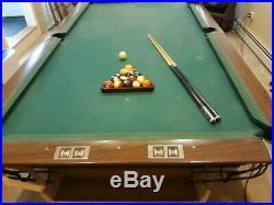 Brunswick 90 Inch Billiard Pool Table With Bonus Cue Rack and balls and sticks