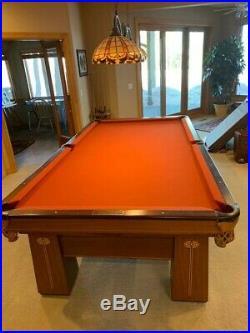 Brunswick Antique Regina Royal Pool Table, Cues & Clock