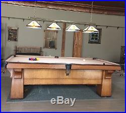 Brunswick Balke Collender Antique Quartersawn Oak Pool Table 9' Early 1900s