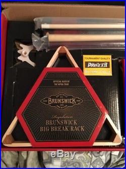 Brunswick Billiard Equipment Set Play Pool Cues Balls Rack Bridge More