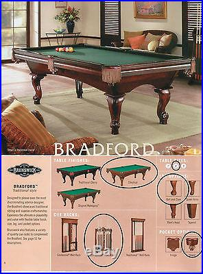 Brunswick Bradford 8 foot pool table and accessories