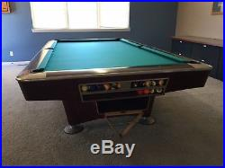 Brunswick Gold Crown IV 9' Tounament Autographed Pool Table with Ball Return