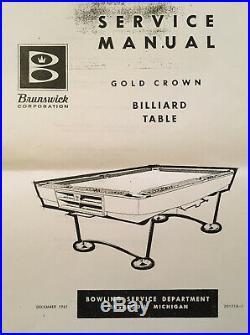 Brunswick Gold Crown Pool Table 9