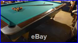 Brunswick Gold Crown pool table, 4 1/2 by 9 with ball return and counters