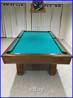 Brunswick Hawthorne pool table, Centennial balls & match floor rack, accessories