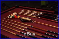 Brunswick Prestige Oak 9' pool table withballs, cues and rack