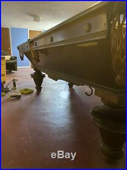 Brunswick balke collender pool table narragansett 1889 + Cue Rack And Cues