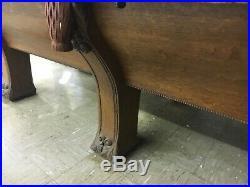 C1895 antique Quartersawn oak Brunswick pool table pfister model 6 legs 9 L