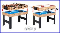 Combo Game Table 48 in. 3-In-1 Hockey Pool Billiards Foosball Games Accessories