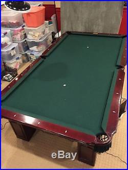 Connelly Pool Table Billiards 6 Leg 9' Dark Wood Green Felt Excellent