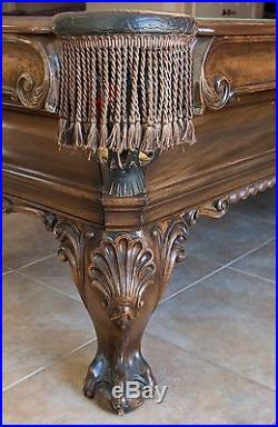 Custom Charles A. Porter Renaissance Pool Table Thomas Chippendale Model