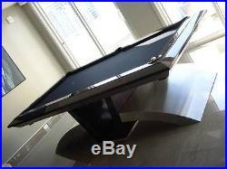 Custom Modern Pool Table 8' stainless steel art slate Billiards by Design