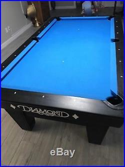 DIAMOND PRO AM 7ft. POOL TABLE Pro Cut Pockets Simonis 860 Blue New