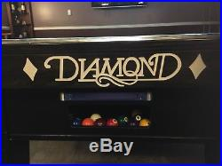 DIAMOND PRO AM 9ft. POOL TABLE BILLIARDS PRO SIGNATURES ON LEGS & MATCHING LIGHT