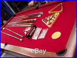 Ebonite antique oak 8 foot slate pool billiard table with Accessories balls and