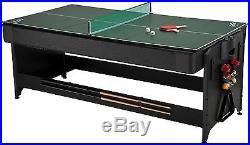 Fat Cat 7-Foot Black Pockey Combination Table Pool Air Hockey Ping Pong